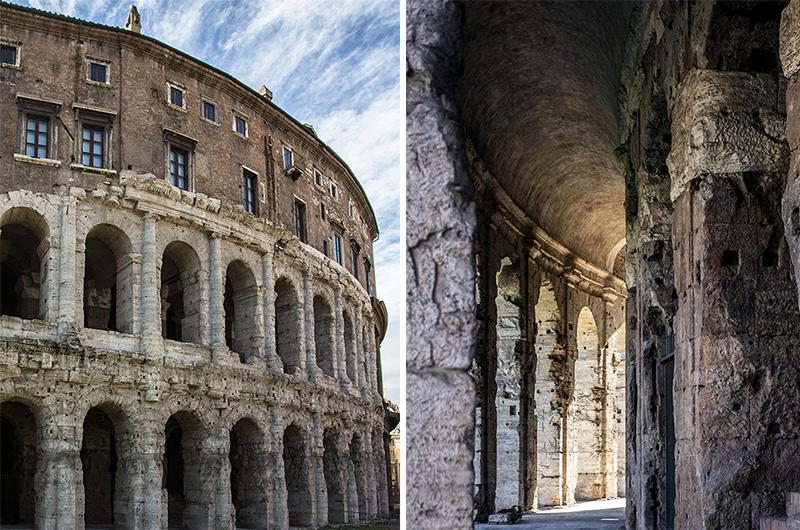 Teile der Außengliederung sind heute noch gut erkennbar, die Architektur ist der Vorläufer zum Kolosseum.
