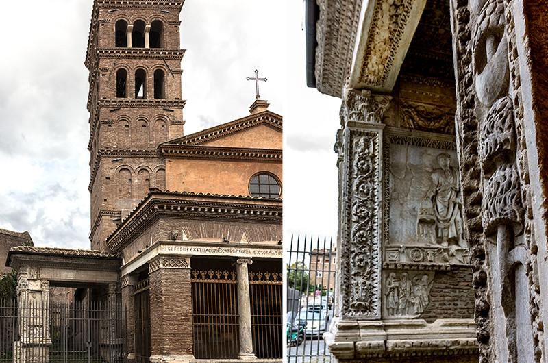 Der Arco degli Argentari ist von der Vorhalle von S. Giorgo in Velabro überbaut und wurde zu Ehren von Kaiser Septimius Severus (204 n. Chr.) errichtet. Reiche Bankiers wollten, oder mussten so dem Kaiser ihre Achtung zollen.