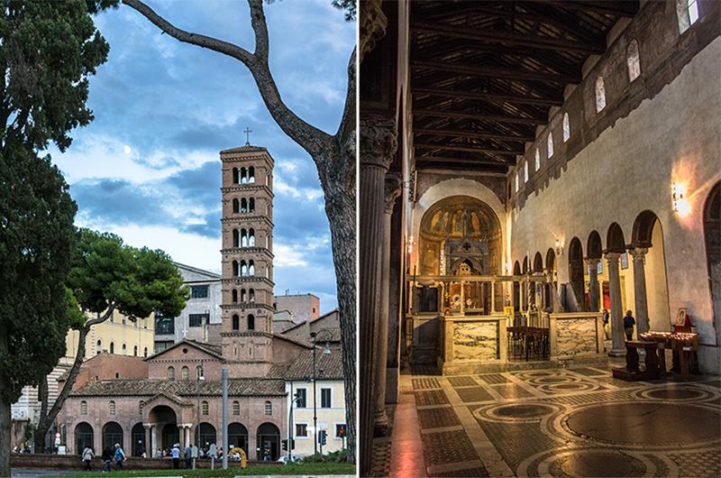 Die dreischiffige Säulenbasilika S. Maria in Cosmedin ist ein Juwel unter den vielen Kirchen Roms und beeindruckt uns durch die Harmonie und Ausgewogenheit ihrer Proportionen.