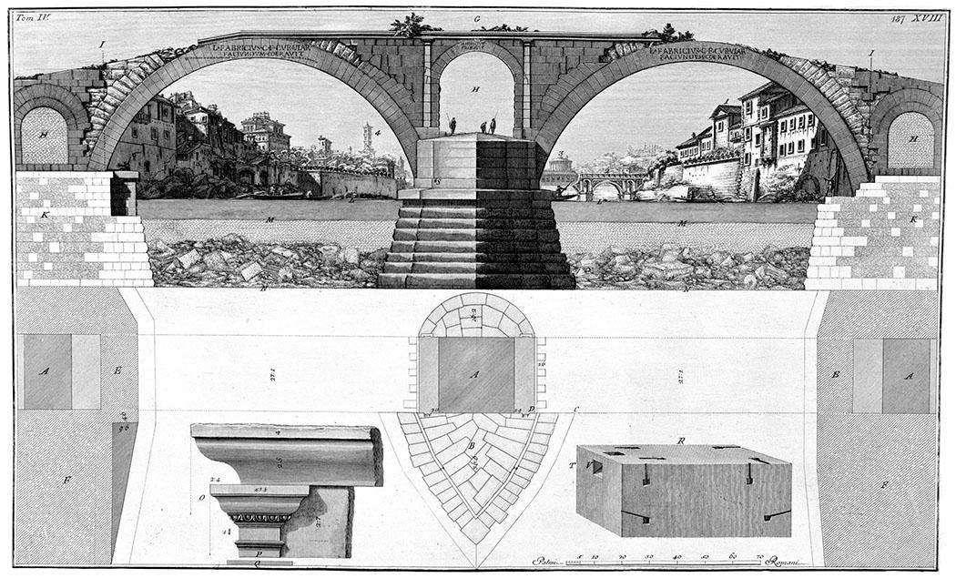 rome_Ponte Quattro Capi_ponte fabricio_Giovanni Battista Piranesi-ol Radierung des Ponte Fabricio, vom Architekten Giovanni Battista Piranesi aus dem Jahr 1756. Foto: Wikipedia