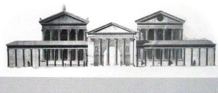 rome_portico_octavia_rekonstruction Rekonstruktionszeichnung vom Portikus der Octavia. Vom Zentrum für römische und griechische Kultur, blieb lediglich dieses Eingangsportal erhalten.