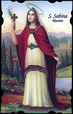 antike sehenswürdigkeiten am tiber-ufer santa sabina marty rome basilika Heiligenbildchen von Santa Sabina, eine der großen Märtyrinnen Roms († um 120). Sabina ist die Schuzzpatronin von Rom, der Hausfrauen und Kinder.