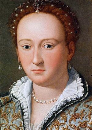 Bianca Cappello, * 1548 in Venedig, † 20. Oktober 1587 in Poggio a Caiano. Portrait von Alessandro Allori aus dem Jahr 1570, heute in den Uffizien von Florenz. Foto: Wikipedia
