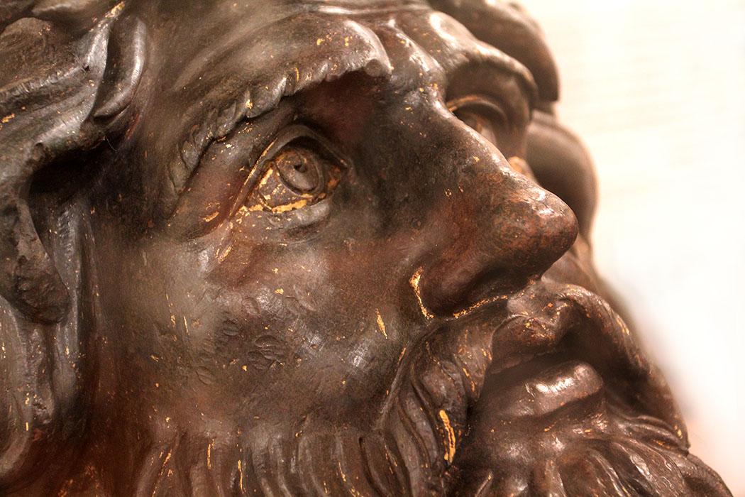 Bronzekopf mit Resten der Vergoldung: Donatello, vermutlich Kopie einer antiken Skulptur, 1433 bis 1439.