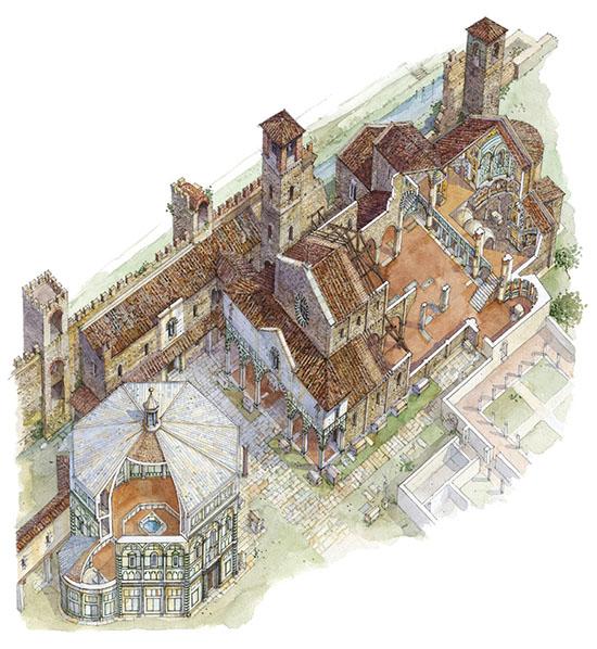 Modelzeichnung von Santa Reparata und dem Baptisterium San Giovanni im Zustand vor dem Beginn des Dombaus 1294. Foto: operaduomo.firenze.it
