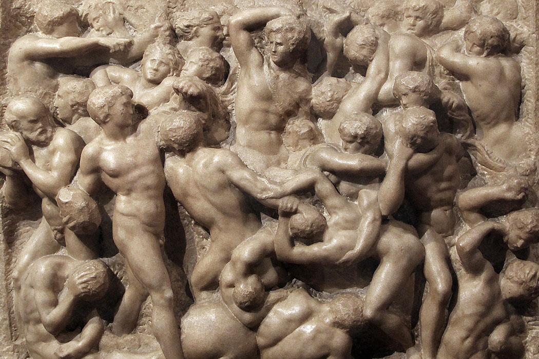 Die Kentaurenschlacht: Das Marmorrelief ist eine Jugendarbeit von Michelangelo von 1492. Foto: Sailko, Wikipedia