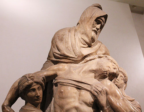 Michelangelo: Florentiner Pietà, ab 1545, Museo dell' Opera di Santa Maria del Fiore. Die Figur des Nikodemus ist ein Selbstbildnis Michelangelos.