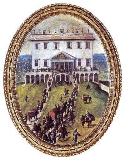 Eleonora von Toledo und ihre Familie erreichen die Villa Medici in Poggio a Caiano. Fresko von Giovanni Stradano, zwischen 1567 und 1577, Saal der Gualdrara, Palazzo Vecchio, Florenz. Foto: www.florentinermuseen.com