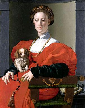 Agnolo Bronzino, Bildnis einer Dame mit Schoßhündchen, 1537. Foto: Städel-Museum, Frankfurt