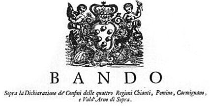 Ausschnitt aus der Urkunde auf der Carmignano mit Pomino, Chianti und Val d'Arno als das älteste gesetzlich festgelegte Weinbaugebiet ausgewiesen wird.