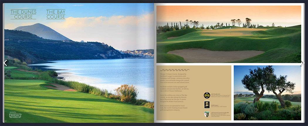 """pylos in messenien Die Golfplätze von Costa Navarino. The Dunes Course und The Bay Course. Den Screenshot haben wir dem Flopbook der """"Costa Navarino Broschure"""" auf www.costanavarino.com entnommen."""
