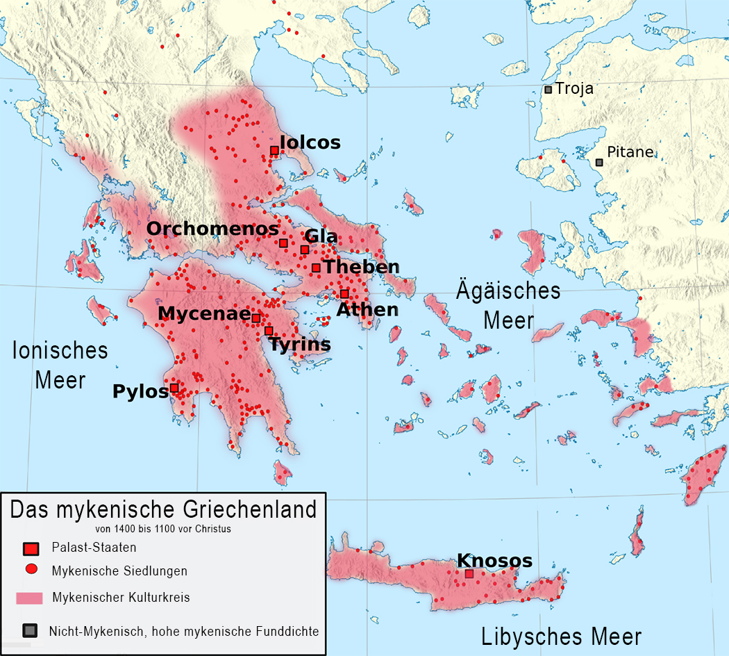 Die Karte zeigt die Lage der mykenischen Palaststaaten und die Ausbreitung ihres Kulturkreises. Die roten Punkte stellen untergeordnete Siedlungen dar. Kartenvorlage: infomapsplus.blogspot.de