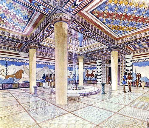 nestor palace throneroom reconstruction pylos messenia Die Rekonstruktionszeichnung in Aquarelltechnik von Piet de Jong befindet sich ebenfalls im Museum von Chora.