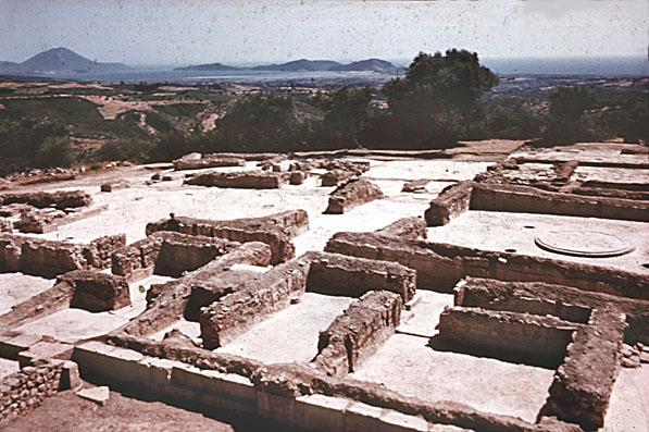Die freigelegten Mauern des Nestorpalastes kurz nach ihrer Entdeckung. Der Blick zeigt das Zentrum des Palastes von Nord-Osten, mit dem Megaron im rechten Teil des Bildes. Foto: University of North Carolina at Chapel Hill