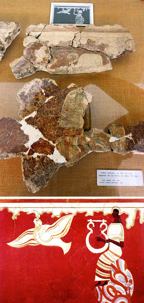 nestorpalast bei pylos pylos nestopalace fresco lyraplayer Die Rekonstruktionszeichnung des Lyraspielers aus dem Nestorpalast ist besonders gelungen. Die Bruchstücke befinden sich im Archäologischen Museum von Chora.