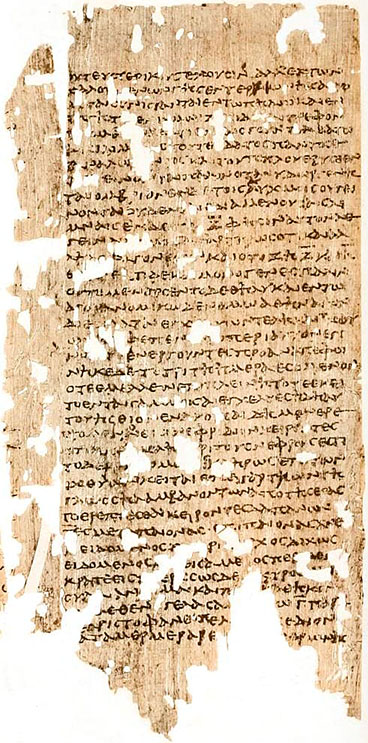 Papyrus Oxyrhynchus 221, Ilias. Griechische Schrift: Diese Kopie der Ilias wurde im 2. Jahrhundert in Ägypten angefertigt und stammt aus dem Oxyrhynchus Papyri 221. Foto: Wikipedia