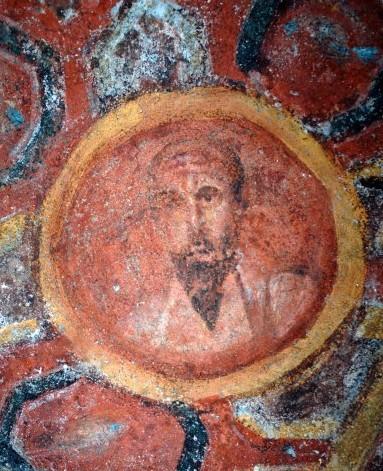 Älteste bekannte Darstellung des Paulus, 2. Hälfte des 3. Jhd., Katakomben der Tecla, Rom. Foto: Joachim Schäfer, Ökumenisches Heiligenlexikon