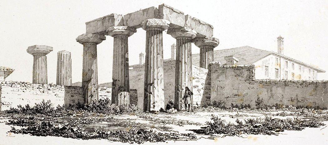 Temple_of_Apollo_in_Corinth Die Ruinen des Apollo Tempels von Korinth, um 1810. Dahinter der osmanische Palast des Wesirs Mahmud Pasha. Zeichnung: Otto Magnus von Stackelberg. Foto: Wikipedia