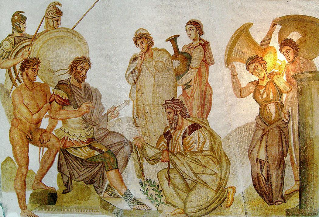 agamemnon-Chryses-mosaic König Agamemnon bekommt während des trojanischen Krieges die junge Frau Chryseis als Kriegsbeute zugesprochen. Ihr Vater, der Apollonpriester Chryses, fleht Agamemnon an seine Tochter freilzulassen, aber dieser weigert sich. Der Gott Apollon straft daraufhin die mykenische Armee mit der Pest. Agamemnon musste Chryseis zurückgeben, um den Gott gnädig zu stimmen. Römisches Mosaik aus Neapel, Haus der Nymphen, 4. Jhd. n. Chr. Foto: Habib M'henni, Wikipedia.