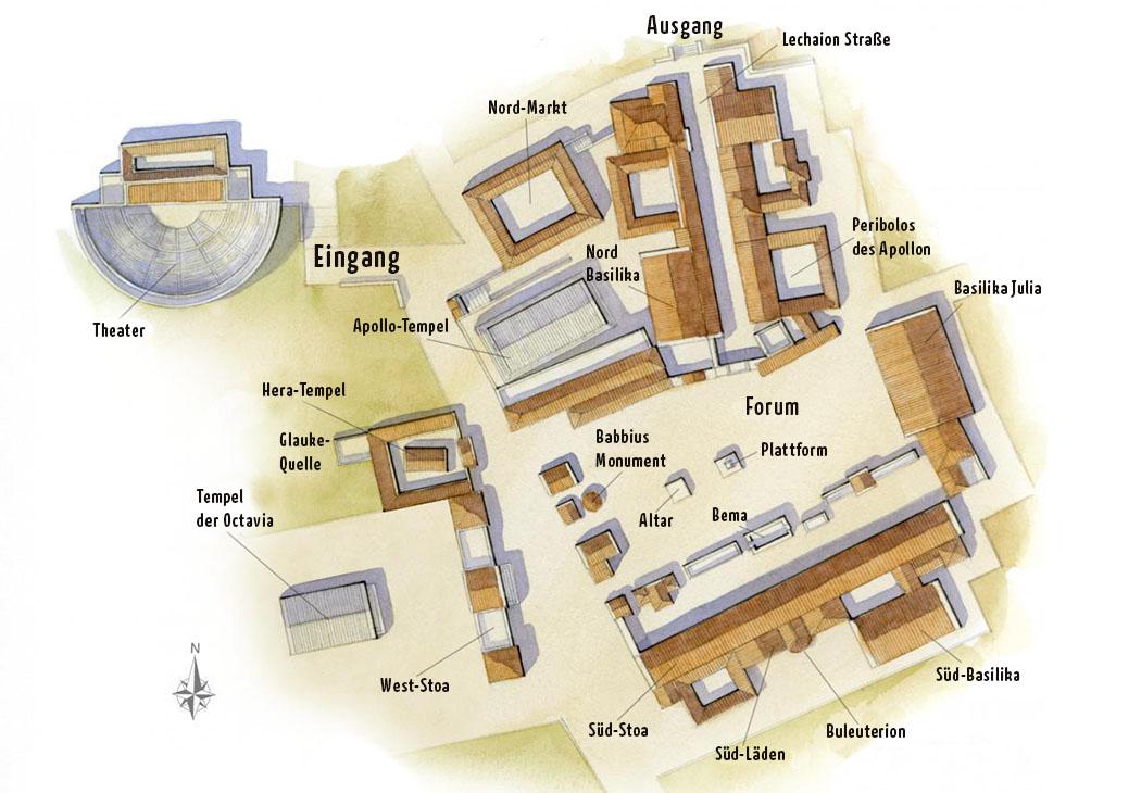 Korinth: Der Plan zeigt die wichtigsten Besichtigungpunkte der archäologischen Ausgrabungen im Bereich der Agora und späterem römischen Forum. Kartenvorlage: ddoehla.blogspot.com