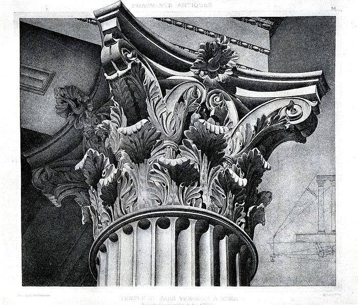 marsultor-capital Die korinthische Ordnung ist der jüngste Baustile der antiken griechischen Architektur. Ihre Entwicklung begann gegen Ende des 5. Jahrhunderts v. Chr. mit der Erfindung des korinthischen Kapitells. Zeichnung: Jean-Baptiste d'Espouy, Tempel Mars Ultor, Rom. Foto: Wikipedia