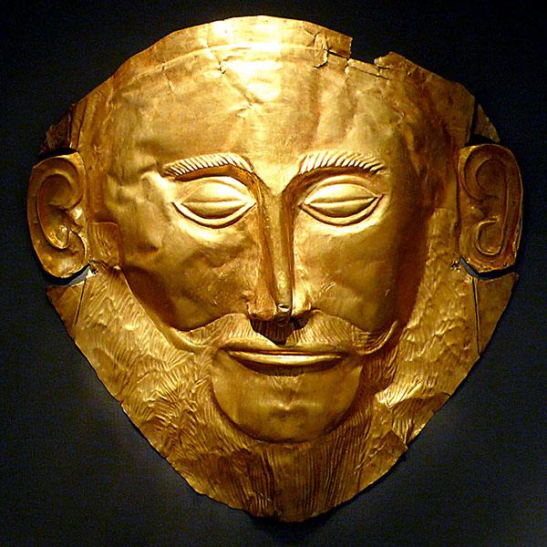 mask_of_agamemnon Die berühmte Goldmaske des Agamemnon aus dem Schachtgrab V, im Grabkreis A, in der Burg von Mykene befindet sich heute im Archäologischen Museum von Athen. Foto: Xuan Che, Wikipedia.