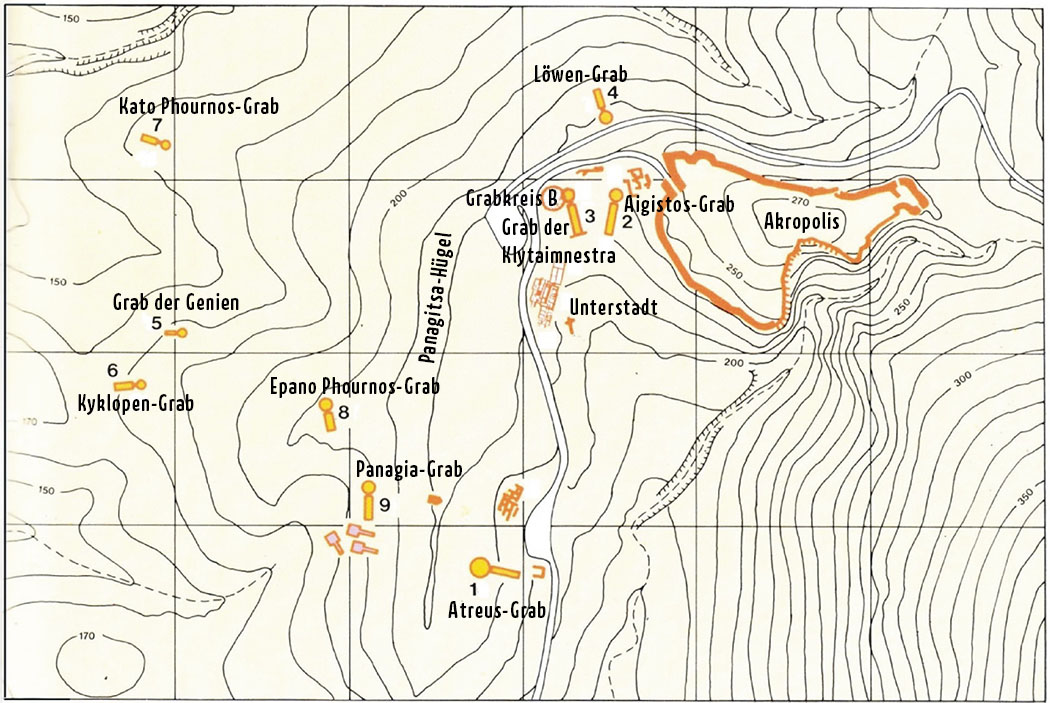 Mykene mycenae tholos tomb panagitsa hill map Mykene: Die Karte zeigt die Anordnung der neun Tholosgräber, des Grabkreises B und der freigelegten Gebäude der Unterstadt: 1 Atreus-Grab, 2 Aigisthos-Grab, 3 Grab der Klytaimnestra, 4 Löwengrab, 5 Grab der Genien, 6 Kyklopen-Grab, 7 Kato Phournos-Grab, 8 Epano Phournos-Grab, 9 Panagia-Grab. Kartenvorlage: argolikivivliothiki.gr