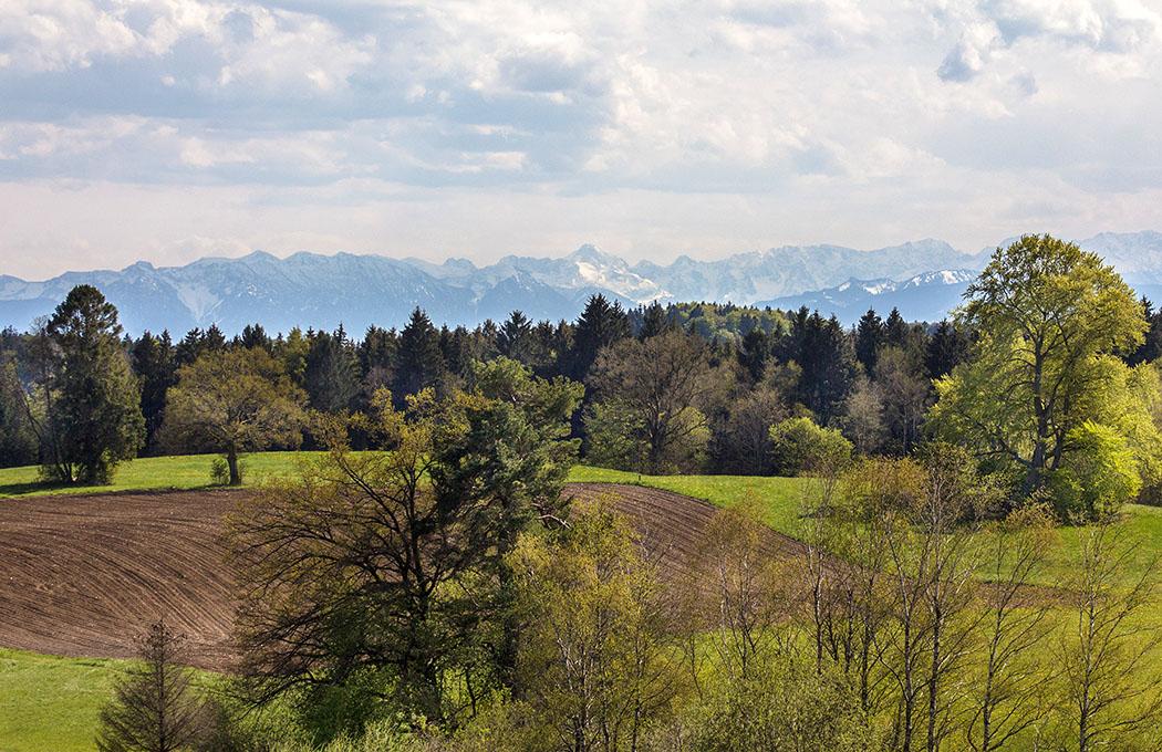 Stephansbichl bei Machtlfing: Einmalig schöner Panoramablick auf die Alpenkette.