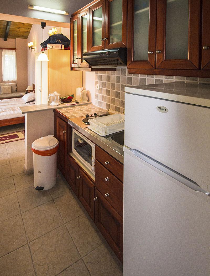 Die kleine Studioküche hat ihren Zweck in den Ferien erfüllt. Herzstück ist der große Kühlschrank.