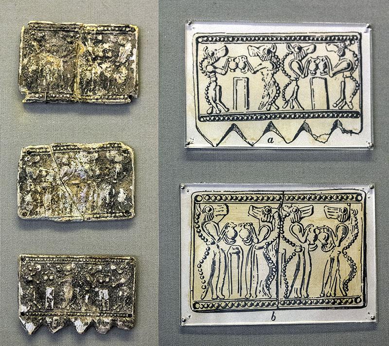 Mycenae Genii tholos tomb perfect tholos tomb Glass plaques shows lion-headed daemons panagitsa hill argolis peloponnes greece Die kleinen Platten aus Glaspaste zeigen löwenköpfige Dämonen (Genien). Das Grab wurde nach den Darstellungen auf diesen Platten benannt. Die Funde befinden sich im Archäologisches Nationalmuseum von Athen.