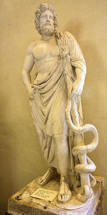 asklepios statue museum epidauros sanctuary argolis peloponnese greece