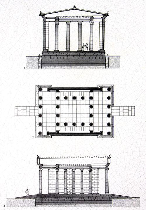 epidauros propylaen entrance sanctuary map asklepios argolis peloponnese greece Rekonstruktionszeichnung vom Propyläen in Epidauros. Zeichnung: Archäologisches Museum