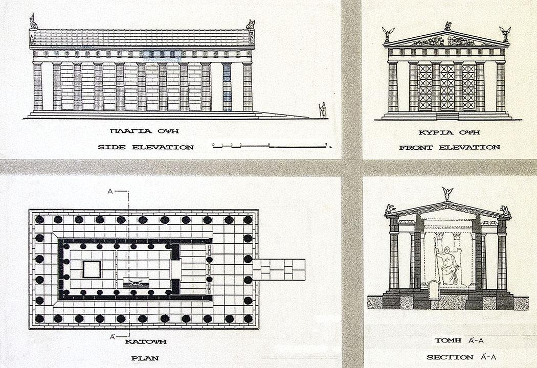 epidauros temple of asklepios sanctuary argolis peloponnese greece Rekonstruktionszeichnungen des Asklepiontempels aus dem Archäologischen Museum von Epidauros.