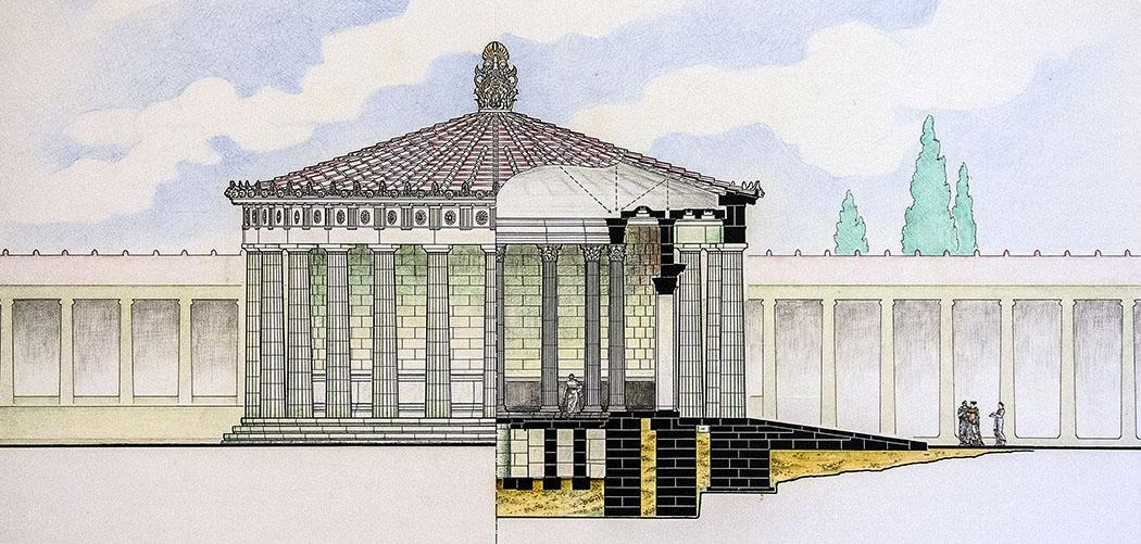 epidauros tholos reconstuktion sanctuary argolis peloponnese greece Die Rekonstuktionszeichnung der Tholos zeigt die Krypta. Im Hintergrund ist die Schlafhalle (Abaton) angedeutet. Zeichung: Archäologisches Museum Epidauros.