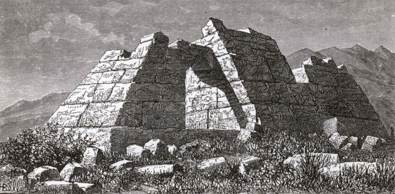 Pyramid Hellenikon_Schweiger_Lerchenfeld_Amand_1887_argolis peloponnes greece Die Pyramide von Hellenikon im Jahr 1887. Zeichnung des österreichischen Reisenden Amand Freiherr von Schweiger-Lerchenfeld. Foto: Wikipedia