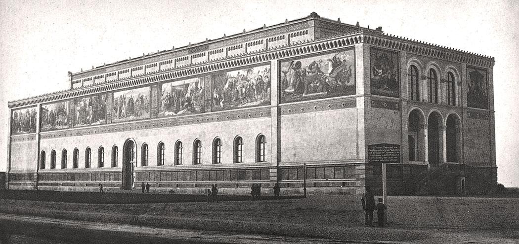 Neue Pinakothek 1854 muenchen munich bavaria germany Mit ihrer Eröffnung am 1853 war die Neue Pinakothek die erste Sammlung moderner Kunst weltweit. 1944 wurde der prachtvolle Bau schwer beschädigt und fünf Jahre später abgerissen. Die Fotographie stammt aus dem Jahr 1854. Foto: Wikipedia