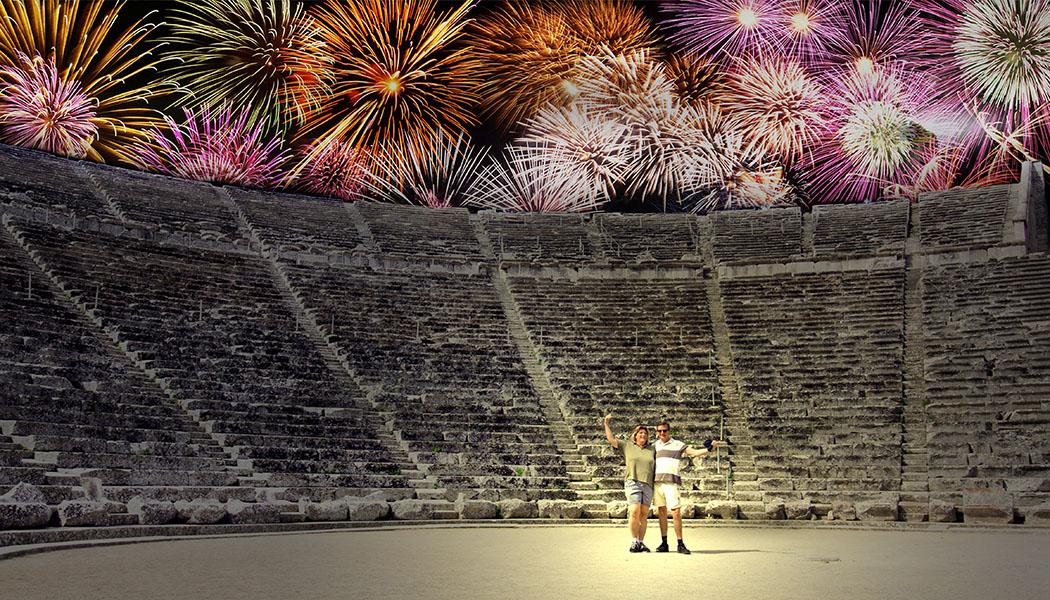 epidavros theatre epidauros theater reisezikaden dance tanz firework feuerwerk