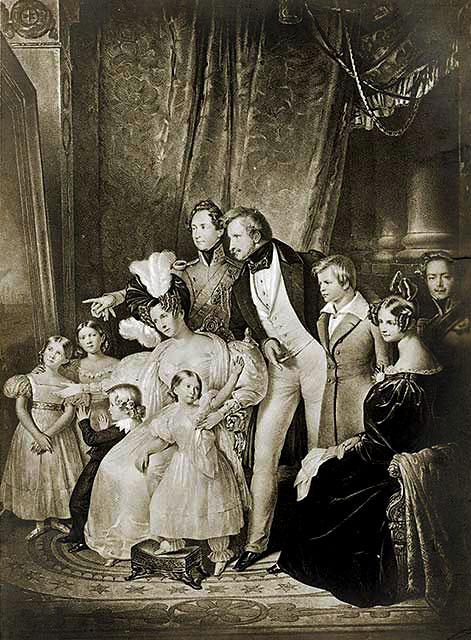 koenig ludwig I. mit familie bayern bavaria munich germany König Ludwig I. von Bayern mit seiner Ehefrau Therese und den Kindern. Foto: www.bayern-lese.de