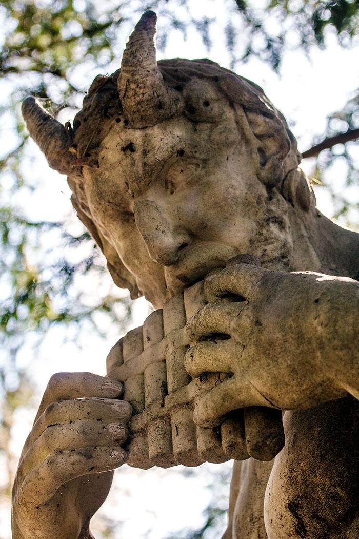 schloss nymphenburg pan statue muenchen munich bavaria germany Skulptur des Hirtengottes Pan mit Syrinx.
