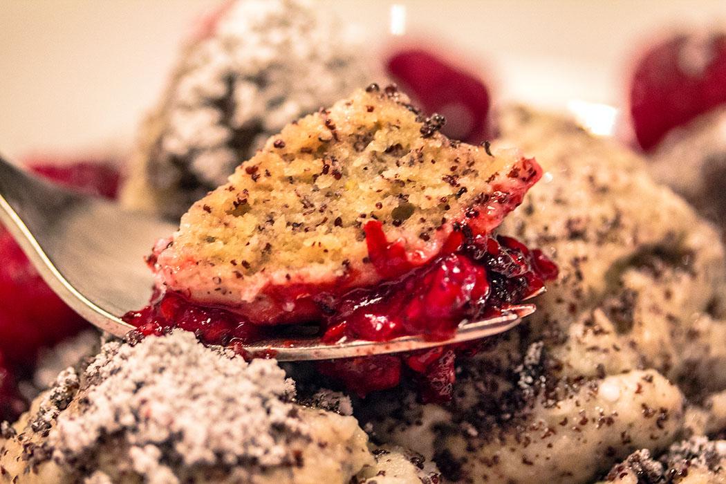Topfen-Mohn-Knödel selbst enthalten keinen Zucker, die Süße kommt nur von der Himbeersauce.