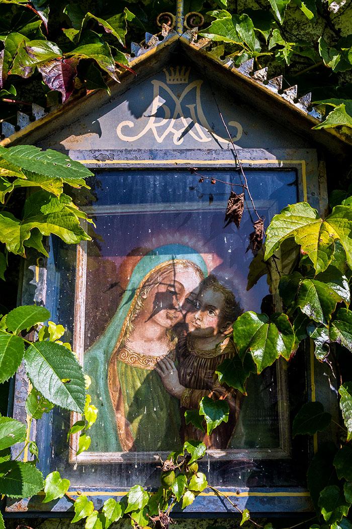 Ein Marienbild lugt aus dem Blätterwerk hervor.