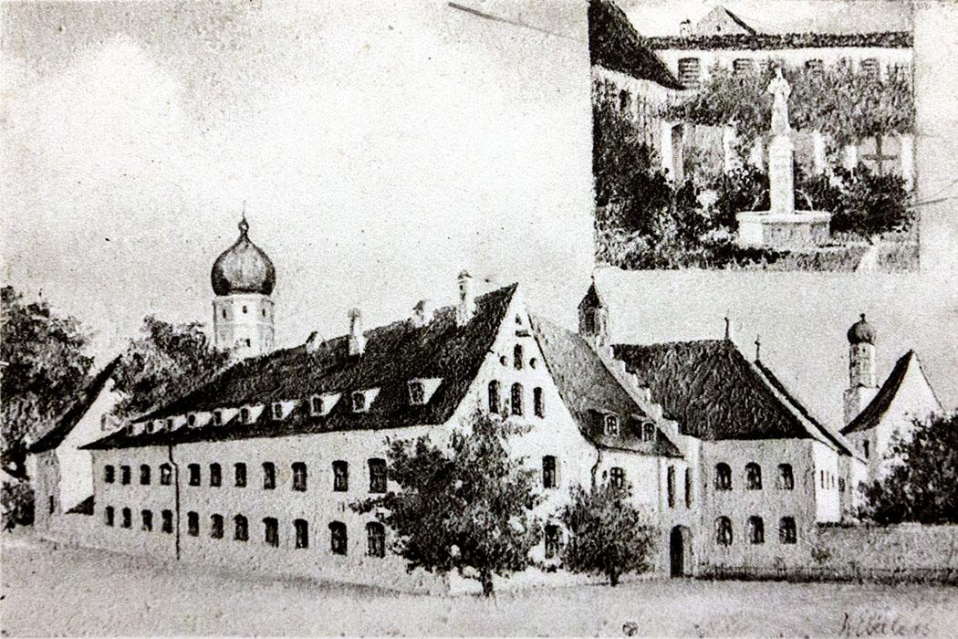 kloster-beuerberg-postkarte-eurasburg-wolfratshausen-bayern Postkarte vom Kloster Beuerberg aus dem 19. Jahrhundert. In der Mitte ist der Josefstrakt, rechts davon die Klosterpforte. Im Hintergrund der Turm der Stiftskirche Peter und Paul und die Marienkirche.