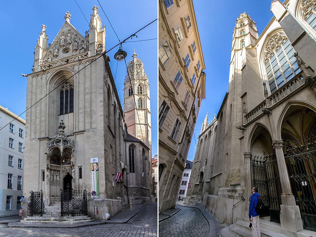 Städtereise Wien sehenswürdigkeiten maria-am-gestade-kirche-wien-vienna-oesterreich-austria Die gotische Kirche Maria am Gestade: Eindrucksvoll ist ihre überschlanke gotische Westfassade mit über dreißig Meter Höhe aber nur zehn Meter Breite (links). Im rechten Fotos ist der Knick vom Chor der Kirche im Verlauf der Salvatorgasse gut sichtbar.