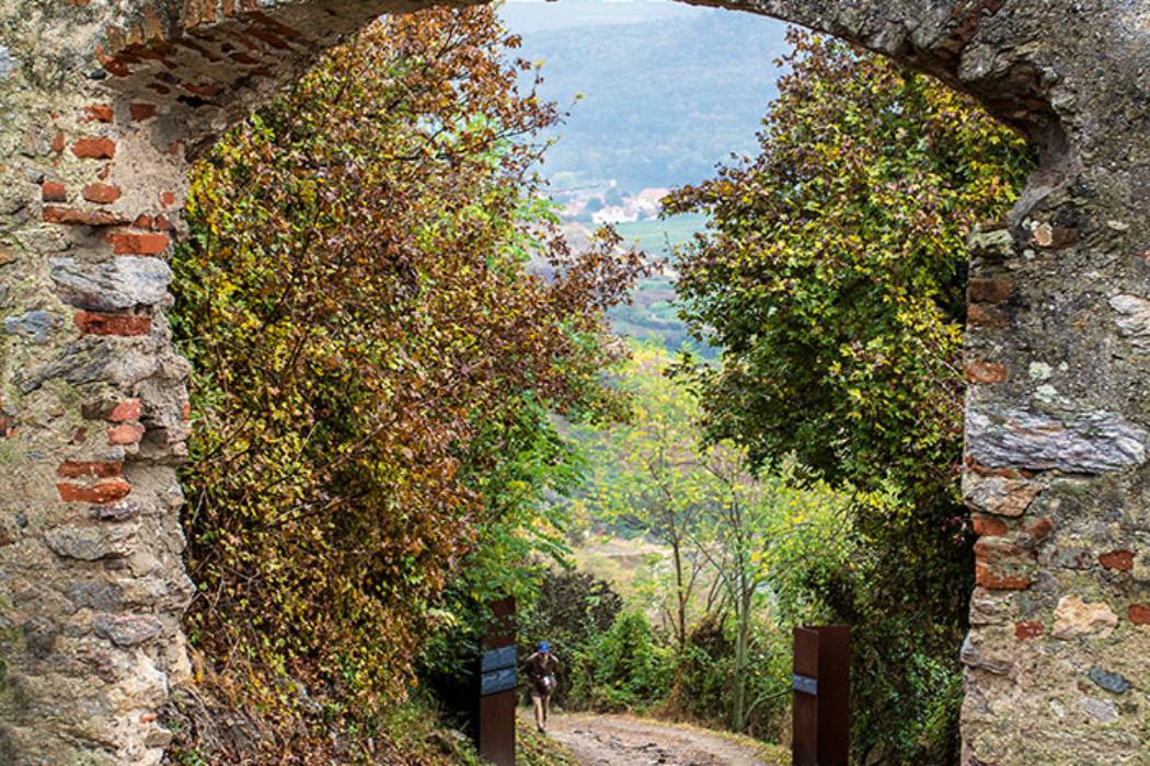 Das erste Tor führt in die nicht mehr erhaltene Vorburg, die sich früher am oberen Ende der Stadtmauer befand. Vom Portal sind Reste aus dem 15.Jahrdhundert und die Reste eines Wehrturmes neben dem Tor erhalten.