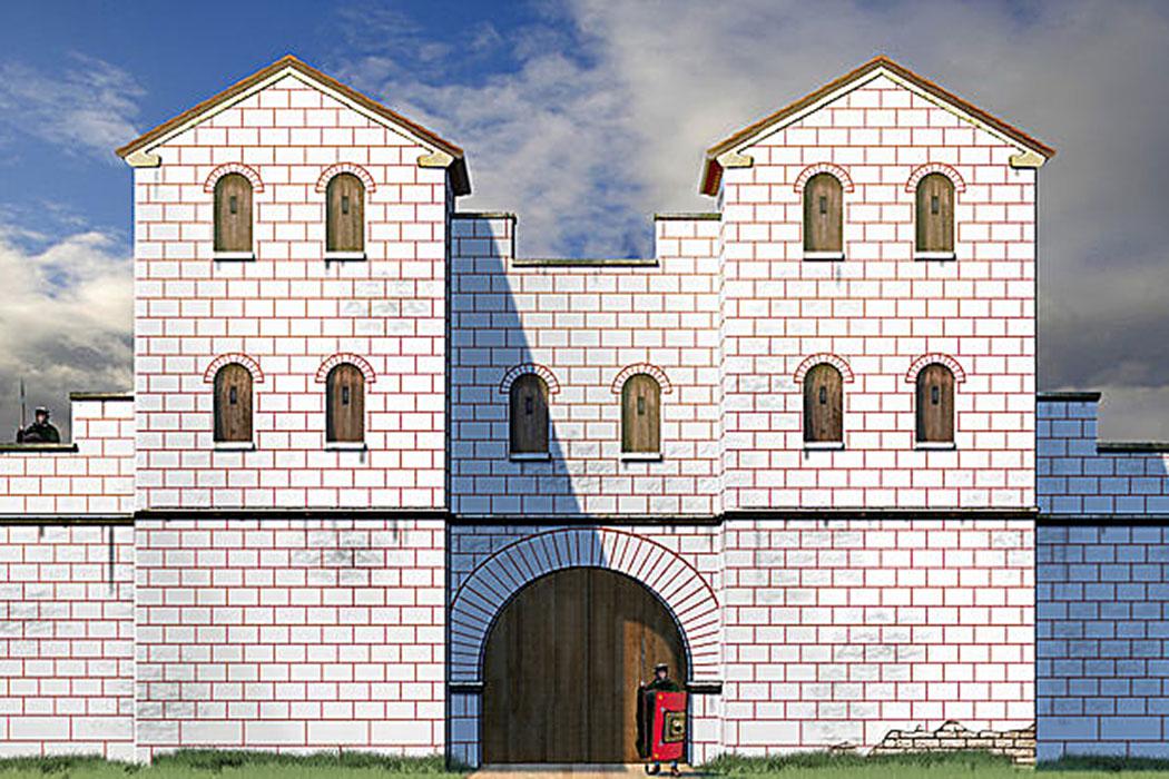 Die Zeichnung zeigt eine Rekonstruktion des einstigen Nordtors von Favianis. Foto: Wikipedia