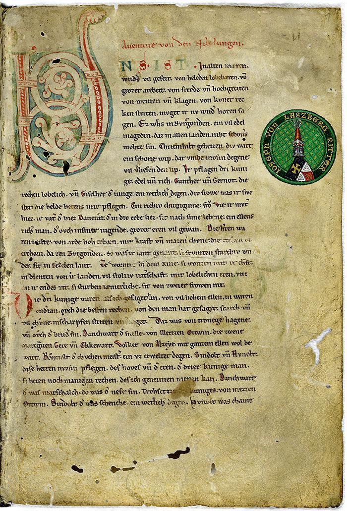 nibelungen in der wachau nibelungenlied Die erste Seite einer der ältesten Handschriften vom Nibelungenlied ist das Manuskript C aus der Zeit um 1220, es wird auch die Hohenems-Laßbergische Handschrift genannt.