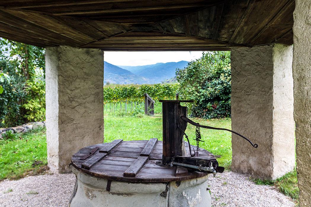Blick vom Brunnenhaus in St. Johann im Mauerthale in die Weingärten.