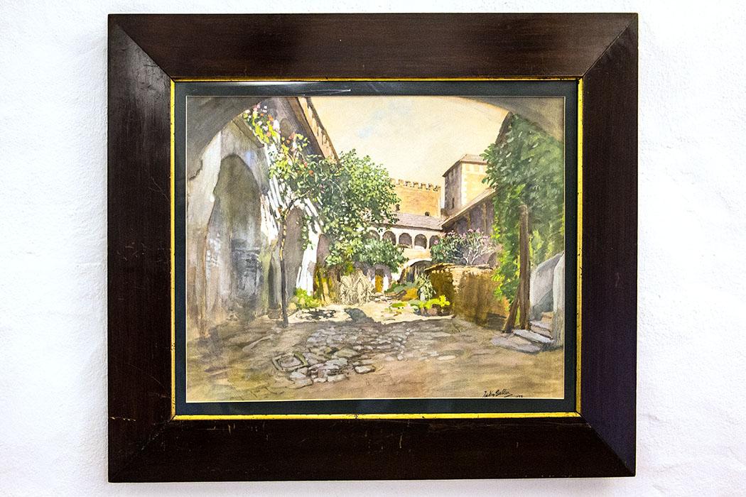 Eines der vielen wunderschönen Gemälde der Wachaumaler: So romantisch sah der Innenhof des Teisenhoferhofs vor über hundert Jahren aus.