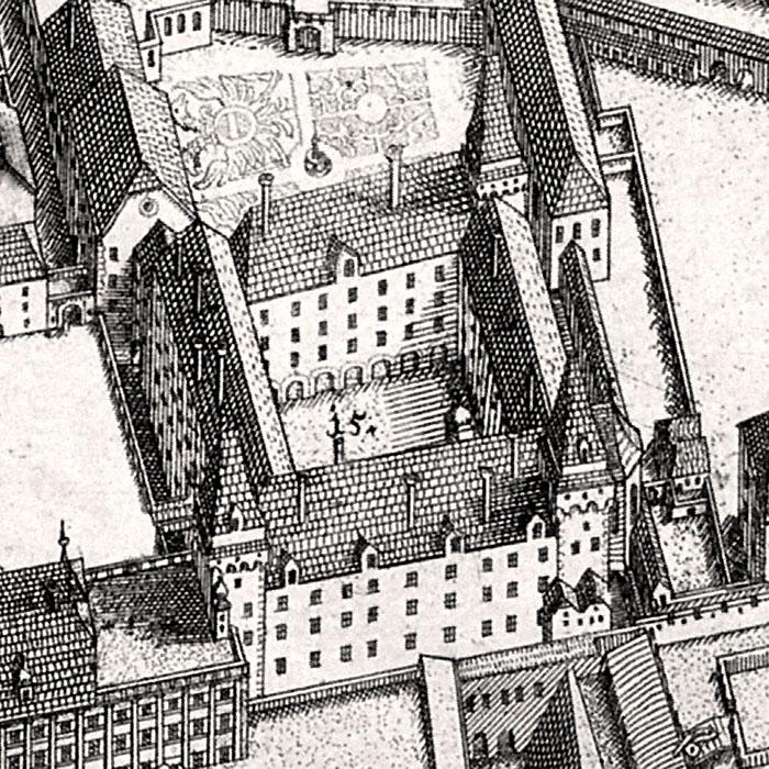 wien hofburg ausschnitt suttinger Die Wiener Hofburg, noch mit Ecktürmen, im Jahr 1683. Ausschnitt aus einem Kupferstich von Daniel Suttinger. Foto: Wikipedia