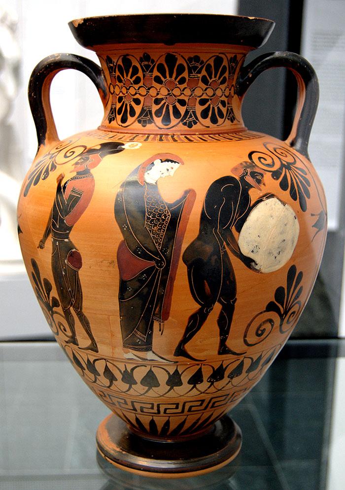 Sisyphos mit seinem Stein, schwarzfigurige attischen Amphora, um 530 v. Chr. Aus Vulci.